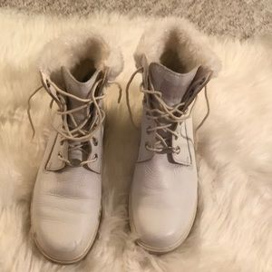 Timberland GUC white sparkle glitter leather fur